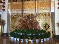 酒店大厅雕塑假山图片