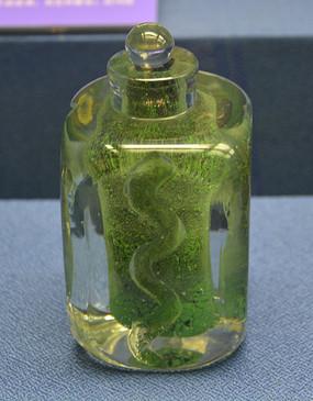 欧洲带塞子的绿色香水瓶
