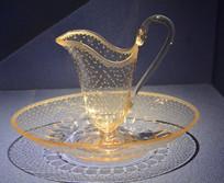 欧洲刻星星花纹玻璃执壶和盘