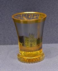 欧洲描布拉格大教主宫殿玻璃酒杯