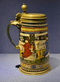 欧洲描福音传道者带柄玻璃啤酒杯