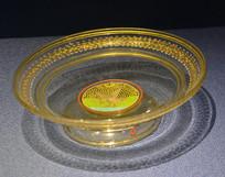 欧洲描金彩绘圆足玻璃盘