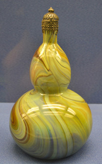 欧洲银累丝盖葫芦形玻璃瓶