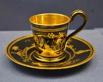 欧洲中国风刻花描金玻璃杯子和杯托