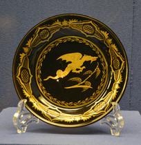 欧洲中国风纹龙描金玻璃盘
