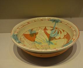 收藏品界首窑彩绘花纹陶碗