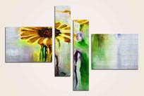 花卉四联组合抽象油画