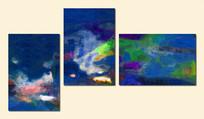 三联抽象画 三联无框画 抽象画