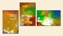 三联无框画 现代无框画 抽象三联画