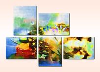 现代风格组合无框画抽象画