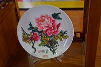 描牡丹花图瓷盘