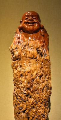 传统工艺根雕弥勒佛
