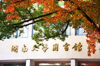秋季红叶下的湖南大学图书馆