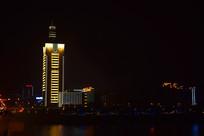 长沙交通警察大楼及湘江夜景图