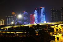 长沙万达城市夜景图