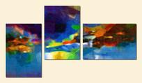 简约现代三联画抽象油画