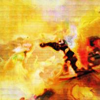 暖色调抽象油画