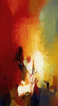 竖版暖色调抽象油画