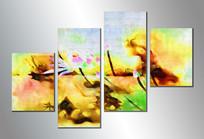 四拼组合荷花抽象油画