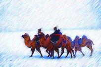 电脑画《雪原蒙古人驼队》