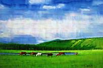 电脑油画《牧场风光》
