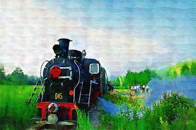 电脑油画《蒸汽小火车》