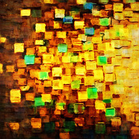 现代色块抽象油画装饰画