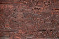 壁刻花草和古代木塔