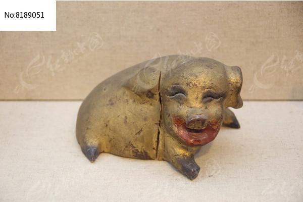 民国金漆木雕彩绘猪图片
