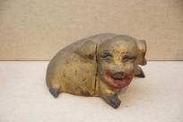 民国金漆木雕彩绘猪