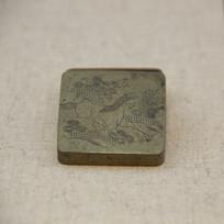 清代松马图铜墨盒