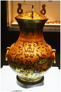 汉代鎏金银蟠龙纹铜壶