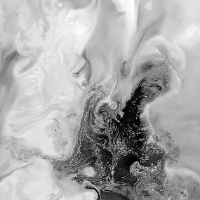 黑白水墨流彩意境抽象画