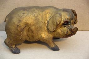 民国金漆木雕彩绘肥猪