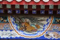 古代老人饮葫芦酒房梁画