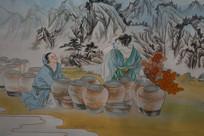 古人酿酒图绘画