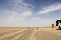 蓝天下的沙漠地区