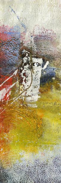 黄色调抽象油画壁画背景墙