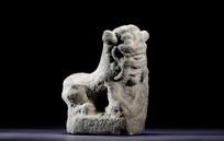 清代石雕狮子案头摆件