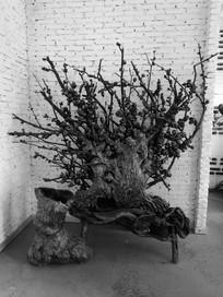 根雕花架摆件作品