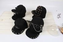 黑色平沿帽摄影图