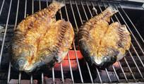 正在烧烤的烤鱼
