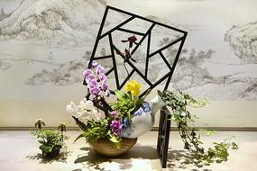 蝴蝶兰窗格插花