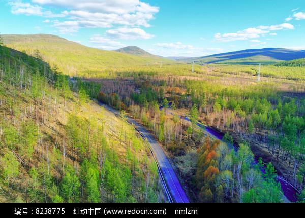 大兴安岭森林之路 航拍 图片