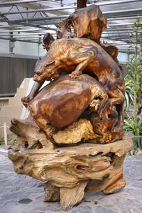 木雕狮子捕猎