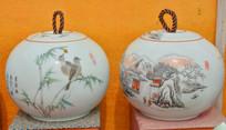 收藏品白釉花纹茶罐