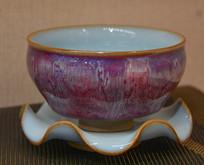 收藏品钧窑荷叶瓷托碗