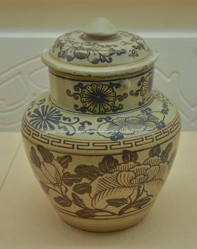 文物白地黑花花卉纹盖罐