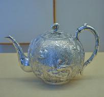 文物白银精品百鸟闹竹林球形茶壶