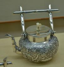 文物白银精品冰梅纹茶壶